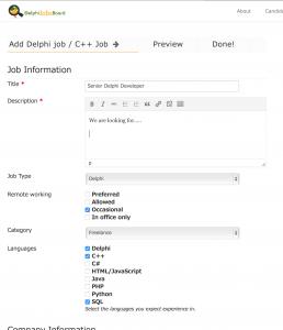 Adding a Delphi or Cpp Job
